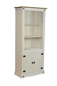 REGAL MIT TÜREN - Bücherregal Bücherschrank Pinie weiß massiv mit zwei Türen