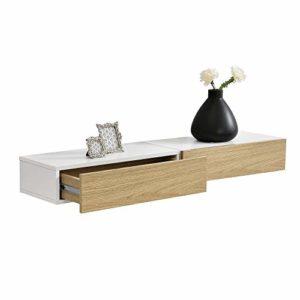 Wandregal mit Schubladen ♥ [en.casa] 2er Set Wandregal mit Schublade Weiß ♥