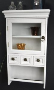 Wandregal mit Schubladen Holz - Wandschrank ♥ Wandregal ♥ antik Weiß Landhaus Shabby Look