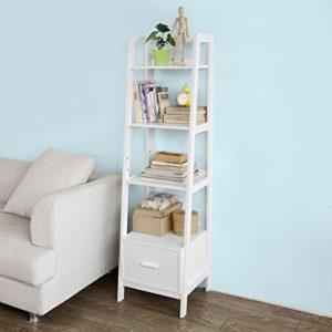 Bücherregal ♥ SoBuy FRG116-K-W Leiterregal mit Ablagen und Schublade in Weiß ♥ 1 x Schublade