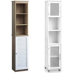 Regal für Bad ♥ Deuba Badezimmerhochschrank Hochschrank Weiß Eiche 6 Fächer Tür mit Magnetverschluss  ♥  6 x Fächer ♥ 1 x Tür