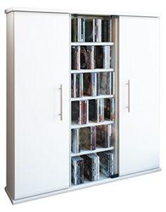 CD Regale ♥ VCM 45024 Regal DVD CD Rack ♥ 6 offene Fächer ♥ 2 x Türen ♥ 1 x ESG Glastür