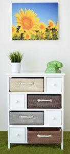 Schlafzimmer Kommoden mit Schubladen - Kommode mit 4 Körbe aus Stroh und 4 Schubladen