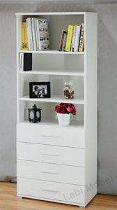 Günstige Kommoden mit Schubladen - Labi Möbel EVA1 Bücherregal mit Schubladen Eva .Weiß Matt
