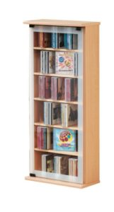 CD Regale ♥ VCM 21023 Regal DVD CD Rack Medienregal  ♥ 6 x Fächer ♥ 1 x ESG Glastür