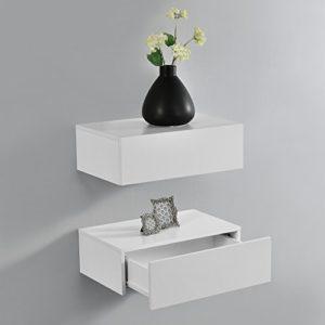 Wandregal mit Schubladen ♥ [en.casa] Wandregal mit Schublade 2er-Set Mattes Weiß ♥