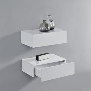 Wandregal mit Schubladen ♥ [en.casa] Wandregal mit Schublade 2er-Set Weiß Hochglanz ♥