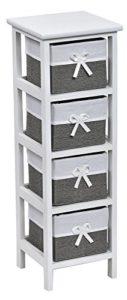 Kommode mit Schubladen Buche - Regalkommode mit 4 Schubladen ♥ Weidenstil ♥ Farbe : Weiß und Grau