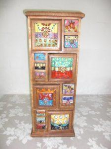 Kommode Weiß mit Schubladen - Keramikkommode ♥ Holzkommode mit Keramikschüben ♥ Apothekerschrank mit 14 Schüben