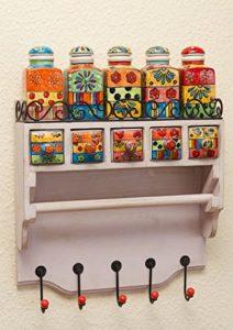 Keramikkommode  ♥ Keramikkommode Küchenschrank ♥ 5 x Keramikschübe ♥ 5 x Gewürzfläschchen ♥ 1 x Papierrollenstab (z.B. für Küchenrolle) ♥ 5 x Aufhängehaken