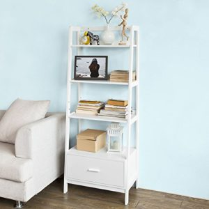 Bücherregal ♥ SoBuy FRG116-W Leiterregal mit Ablagen und Schublade in weiß  ♥ 1 x Schublade ♥ 3 x Fächer