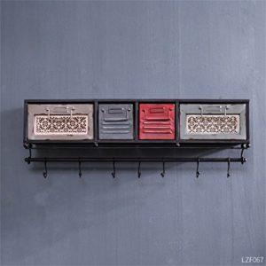 Wandregal mit Schubladen ♥ Vintage Industrial Style Wandregal Metall Eisen mit Schubladen LOFT Wandbehang ♥