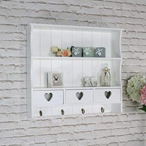 Wandregal mit Schubladen ♥ Melody Maison Wandregal mit Herz-Schublade, groß, Weiß ♥
