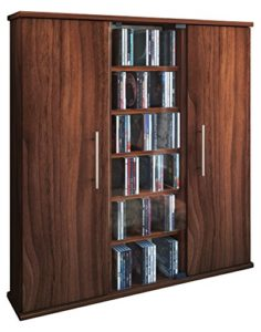 """CD Regale ♥ VCM 45032 CD/DVD-Turm """"Santo"""" für 450 CDs Kern-Nussbaum ♥ 6 offene Fächer ♥ 2 x Türen ♥ 1 x ESG Glastür"""